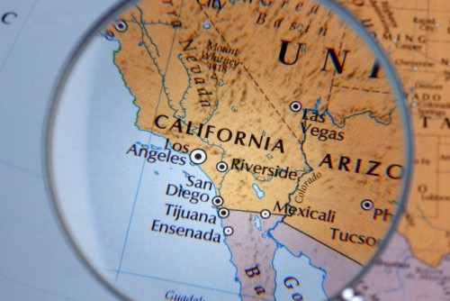 close up of CALIFORNIA thru a magnifying glass